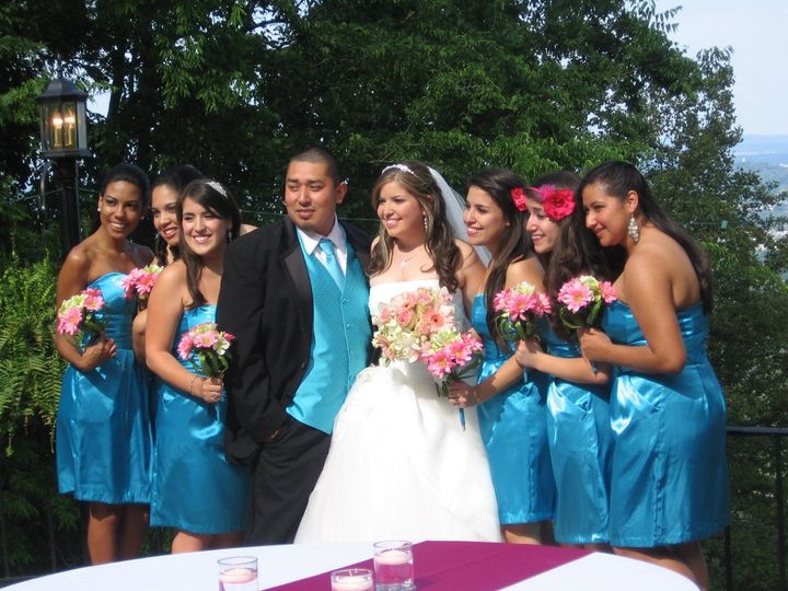 The newlyweds with the bridesmaids