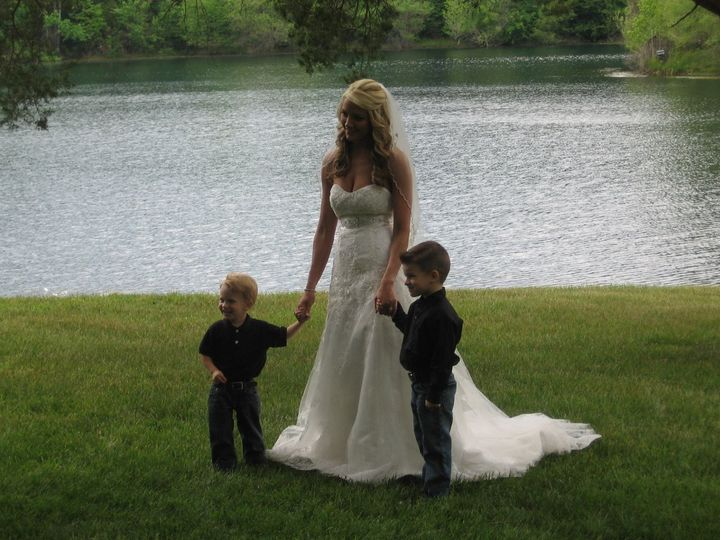 The bride with some kids