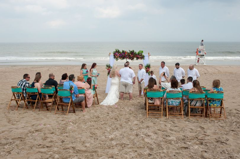 Tropical beach side wedding