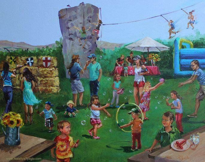 Children playing in a backyard
