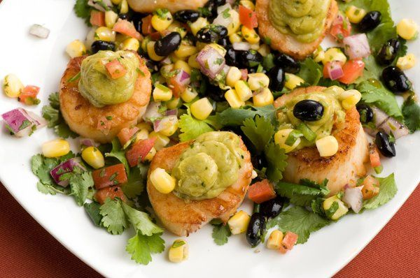 Scallops with Guacamole with Corn and Black Bean Salsa