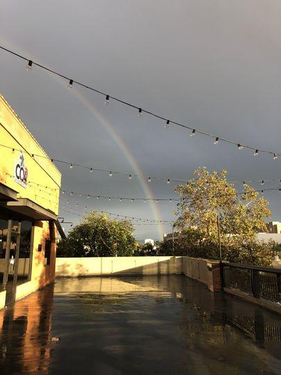 Rainbow over the event patio