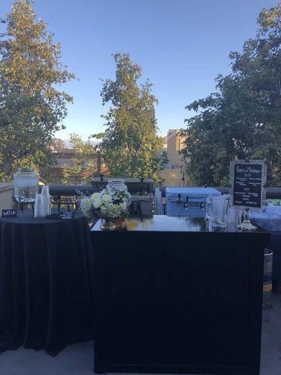 Bar setup at wedding reception
