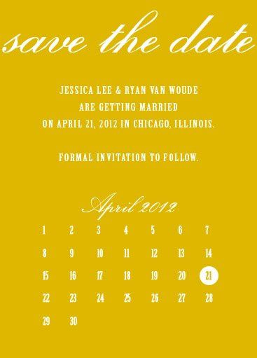 This modern calendar save the date is a classy, yet fresh way to announce your wedding day.  Can be...