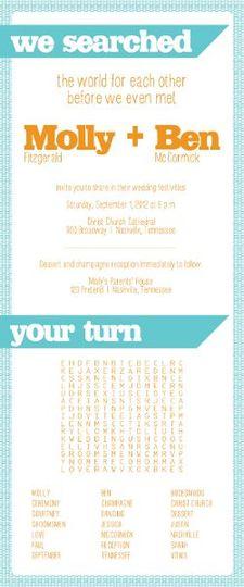 Word search wedding invitation.