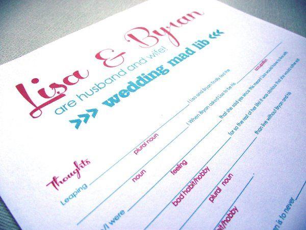 Wedding Mad Lib -- fun guestbook alternative! Buy it online & print it at home!