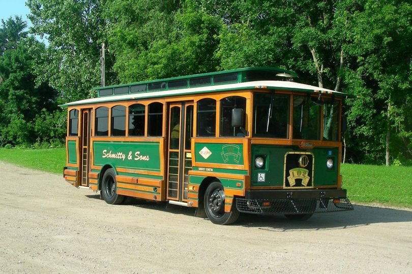 A 27 passenger trolley, an all time favorite for weddings