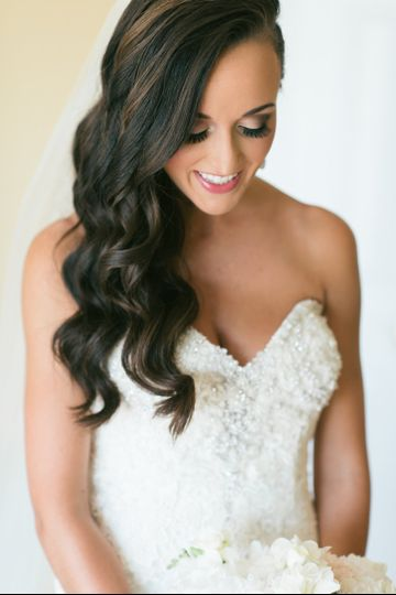 Bride's long curls