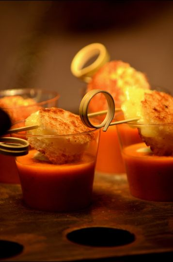 Tomato Bisque with Chive Cream Soup Shooters with Petite Triple Grilled Cheese
