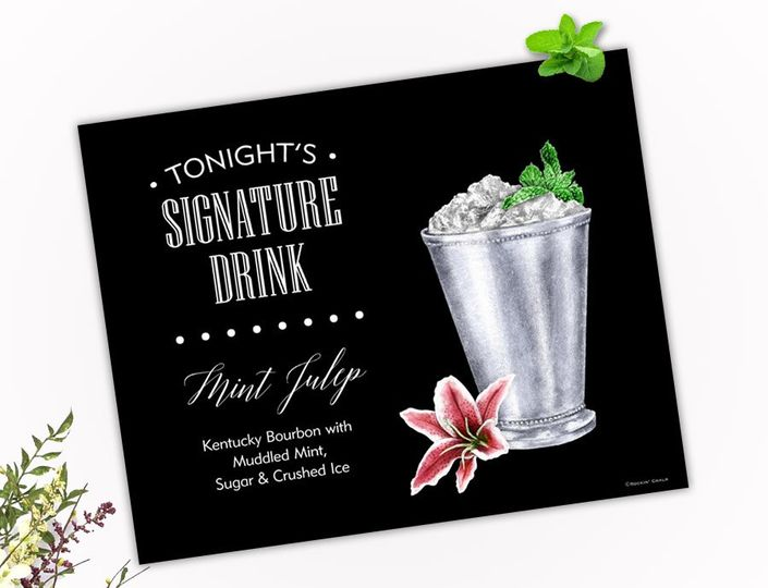 Elegant Mint Julep Drink sign