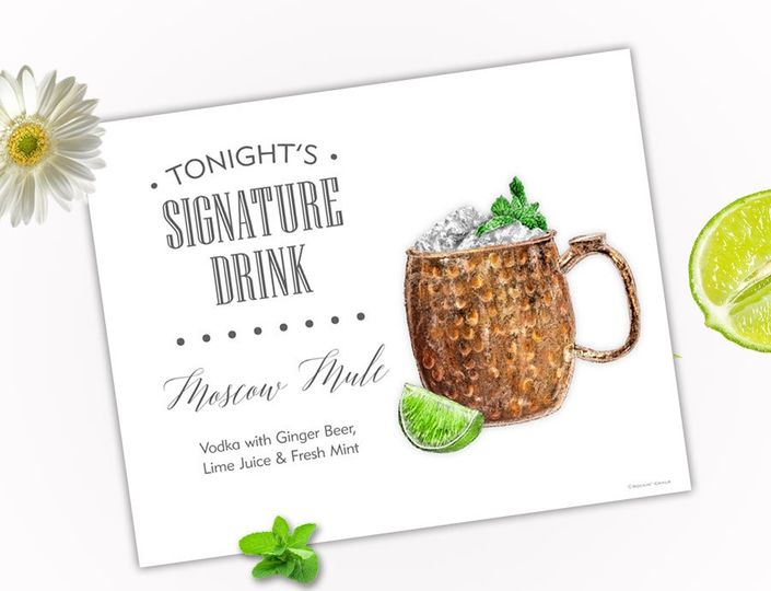 Moscow Mule White Minimal Sign