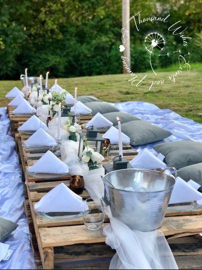 A picnic at sunset