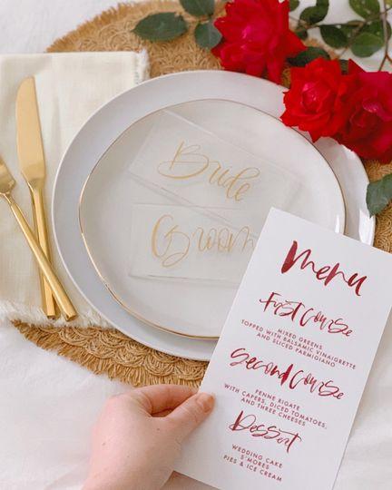 Simplistic style menu and escort cards