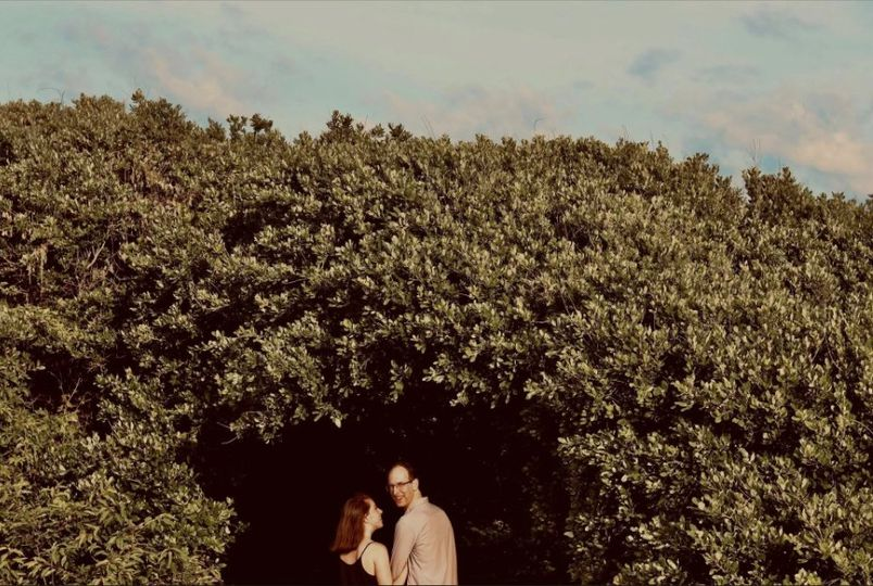 Couple under the canopy