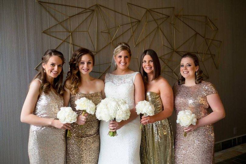 Bride in her sparkle dresses