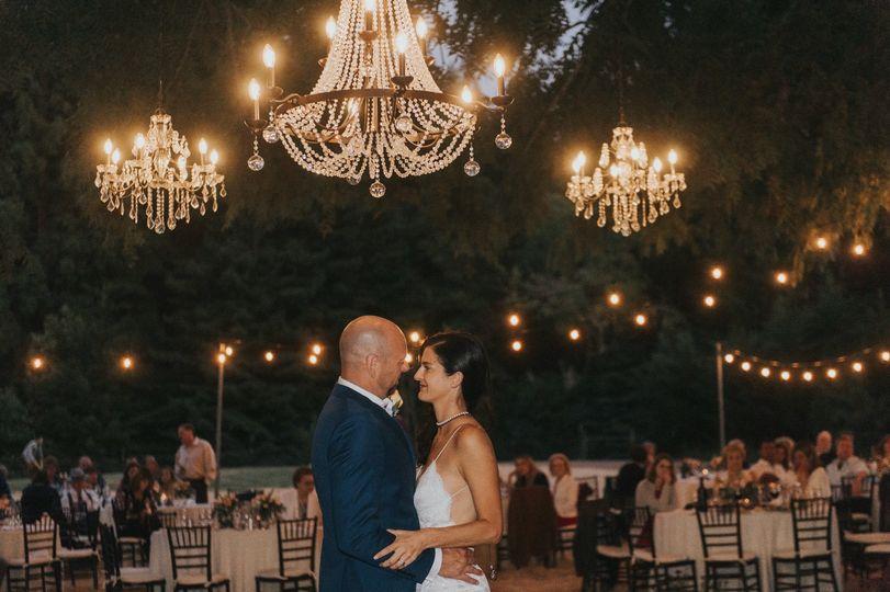 First dance under chandeliers