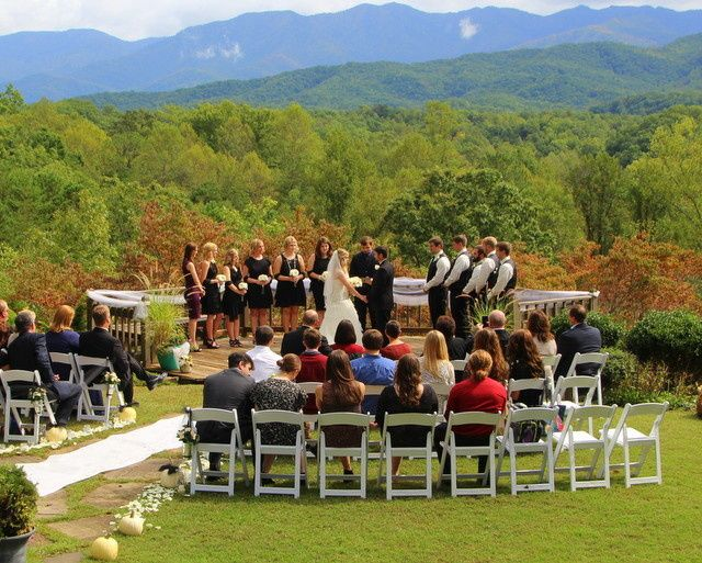 Fall In Love • Mountain View Ceremony with up to 40 Guests • 40 White Wedding Chairs • Recorded...