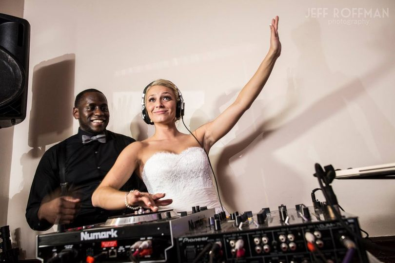 Bride with wedding dj