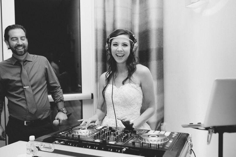 Bride in headphones