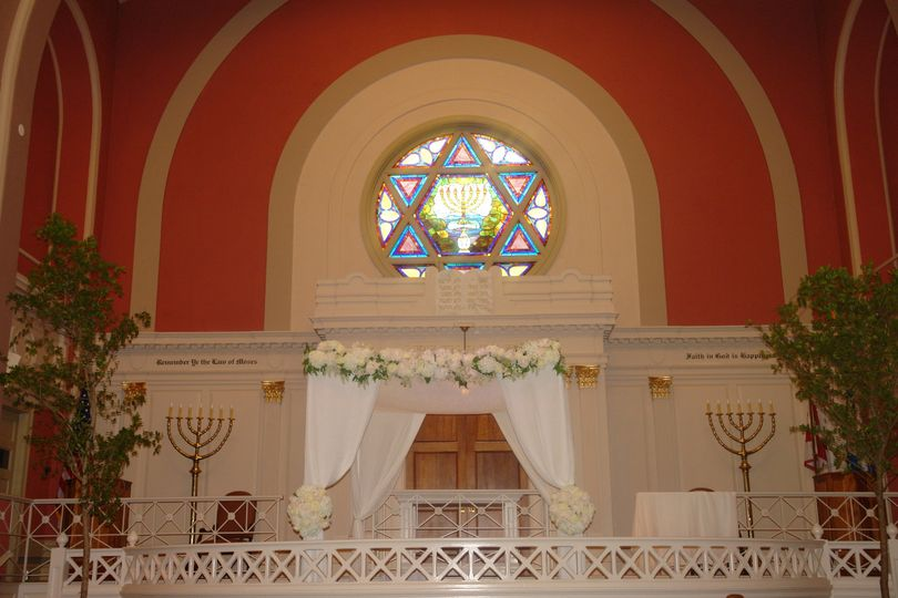 Our chuppah (minus the flowers) is included in the rental package