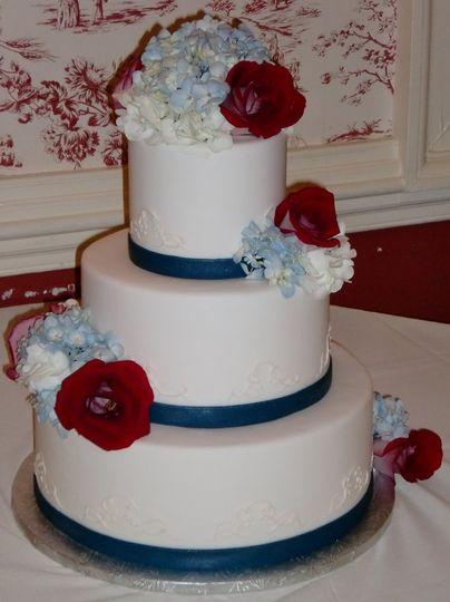 Cake with blue linings