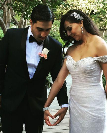 Newlyweds form a heart
