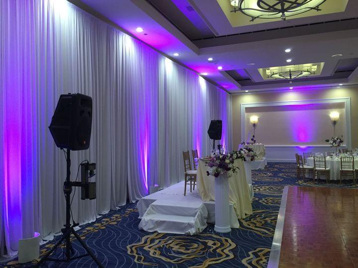 Reception hall setup and lighting