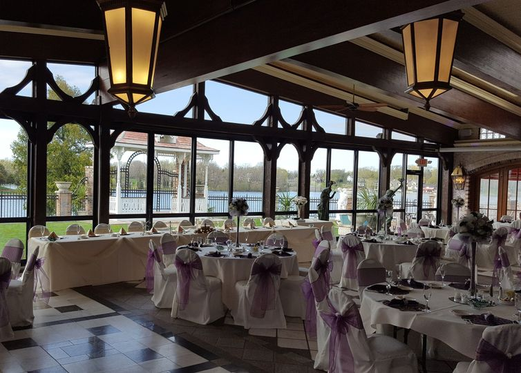 Indoor wedding reception venue with the view of