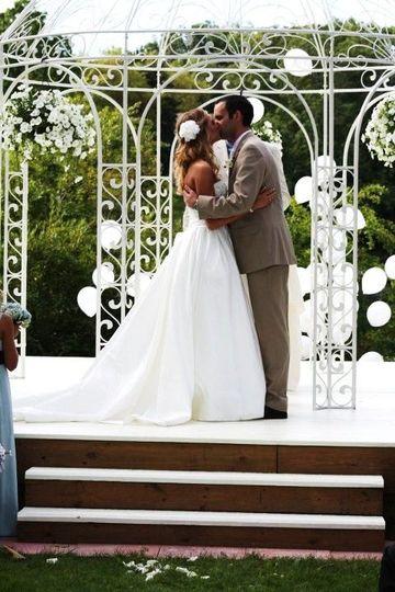 Couple wedding kiss ceremony