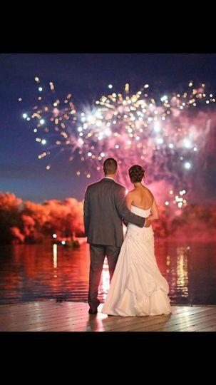 Couple watching amazing fireworks