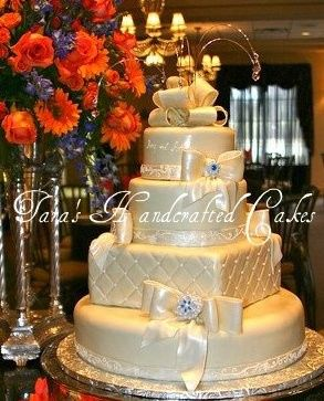 fondant covered cakes with quilt detail, hand piped fondant ribbon inspired by bridal gown, fondant...