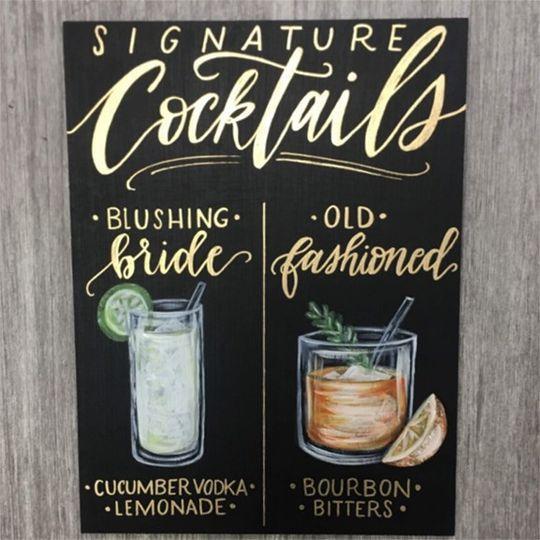 Custom Signature Cocktail Sign
