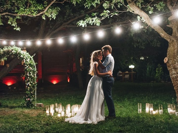 Tmx Enamored Newlyweds Gently Embrace Wedding Ceremony In Nature The Lights Of The Electric Garland Illuminate The Wedding Party  51 1873283 1567115527 Raleigh, NC wedding videography