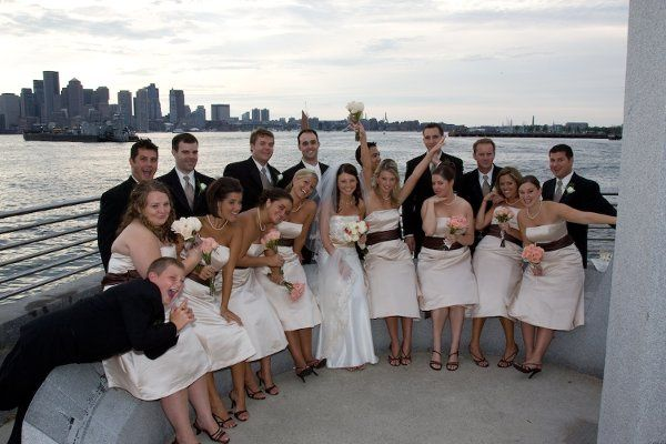 The bridal party on Boston Harbor.
