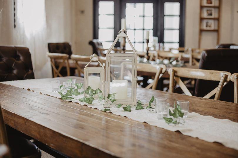 Farm table with centerpiece