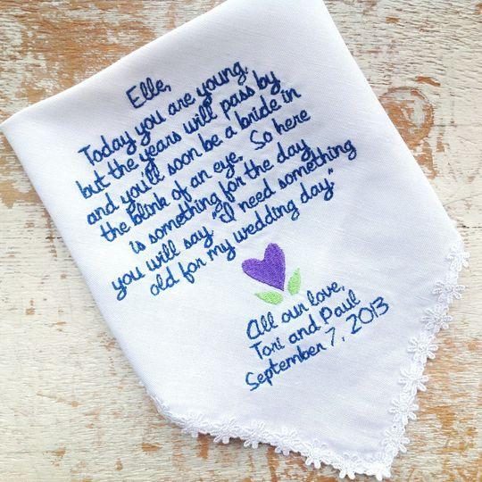 handkerchief flowergirl navy and purpl