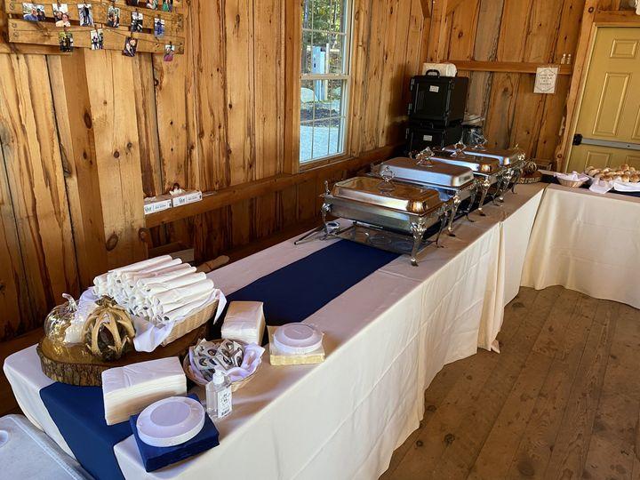 Buffet setup for barn wedding
