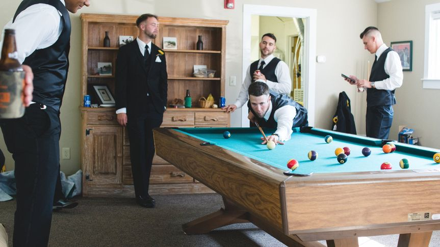 The game room is a perfect space for the groomsmen and groom to spend some time before the ceremony...