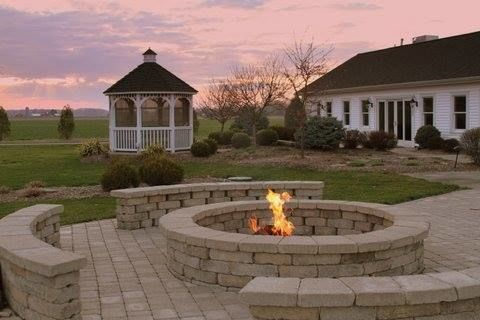 Patio will be along this cozy outdoor firepit for your guests to enjoy.