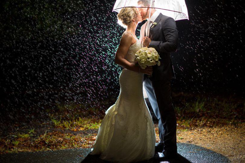 Rain, night time, umbrella, bride and groom