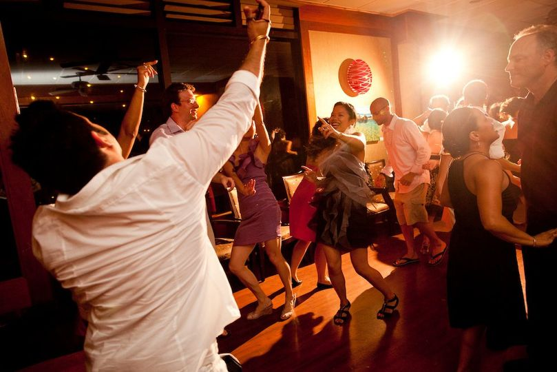 Maui Wedding DJ rocking the house at Five Palms Restaurant for Mike & April's Wedding