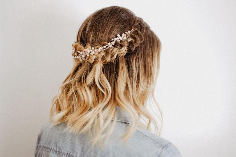 A half-up crown bridal braid