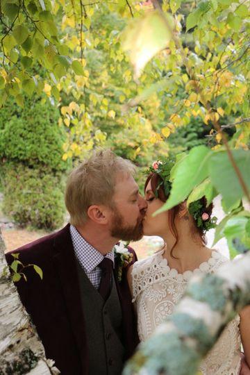 Wedding Couple at Friends Lake inn in Fall