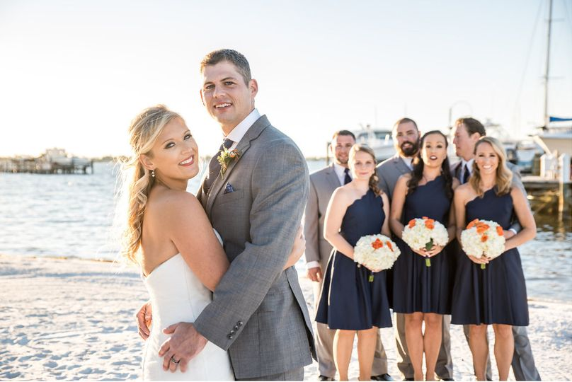 The couple with their bridesmaids and groomsmen