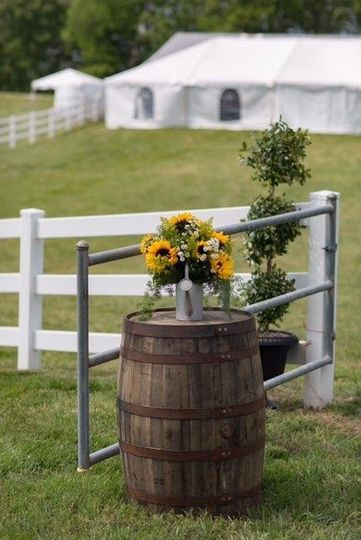 whiskey barrel outside
