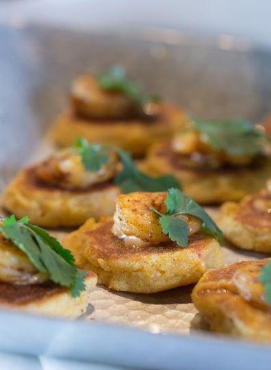 Shrimp on corn pancakes