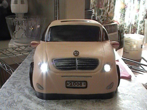 Mecedes 3D cake with Working Headlights.