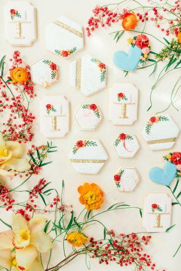 Hexagon decorated cookies
