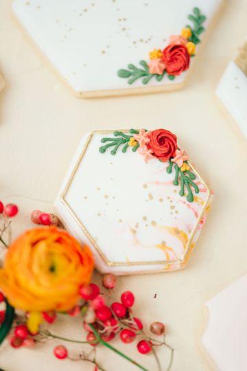 Hexagon marbled cookies