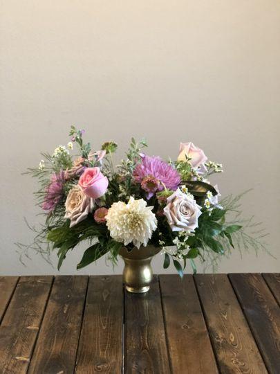 Blush and lavender centerpiece